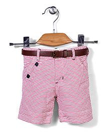 Poly Kids Striped Shorts - Pink