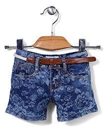 Poly Kids Flower Print Denim Shorts With Belt - Blue