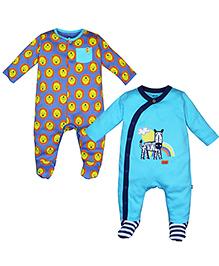 FS Mini Klub Full Sleeves Sleepsuits Set of 2 - Blue