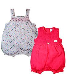 FS Mini Klub Sleeveless Rompers Set of 2 - White Dark Pink