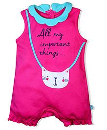 FS Mini Klub Sleeveless Romper Cat Embroidery - Dark Pink