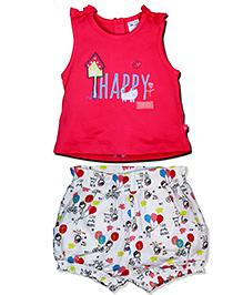 FS Mini Klub Sleeveless Top And Shorts Bow Appliques - White Dark Pink