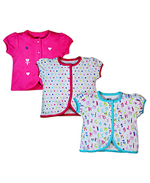 FS Mini Klub Puff Sleeves Vests Pack of 3 - Pink White Sea Green