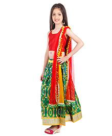 Kids Chakra Rangbirangi Ghagra Choli Set - Red