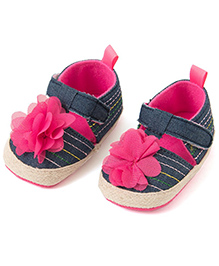 Pikaboo Denim Prewalker Shoes With Floral Applique - Blue And Pink