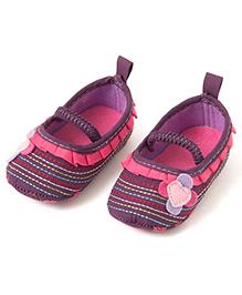 Pikaboo Stitch Pattern Prewalker Booties With Floral Applique - Purple