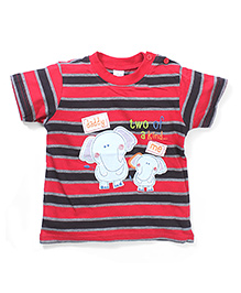 Poly Kids Elephant Print T-Shirt - Red & Black