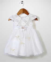 Beautiful Girl Flower Embellished Princess Dress - White
