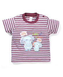 Poly Kids Elephant Print T-Shirt - Chocolate & Grey