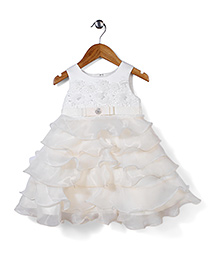 Beautiful Girl Stylish Party Dress - White