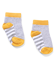 Cute Walk by Babyhug Stripes Ankle Length Socks - Gray & Yellow