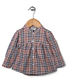 Miss Pretty Smart Check Shirt - Cream & Black