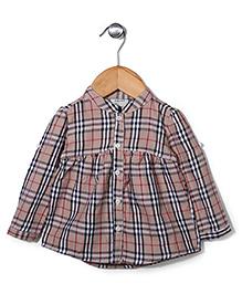 Miss Pretty Smart Check Shirt - Cream & Black