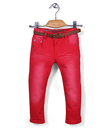Quick Seven Washed Pants With Belt - Red