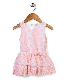 Miss Pretty Flower Print Dress - Peach & White