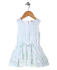Miss Pretty Flower Print Dress - Aqua Blue & White