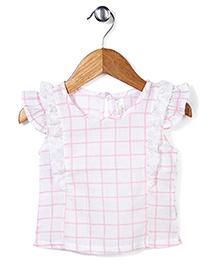 Miss Pretty Checkered Print Top - Pink & White