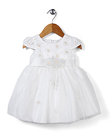 Beautiful Girl Dress With 3D Flower At The Front - White
