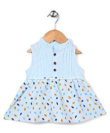 Elite Fashion Leaf Print Dress - Sky Blue & Multicolour