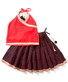 Kidcetra Halter Neck Top & Lehenga - Black & Red