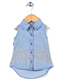 Elite Fashion Embroidery Detailing Top - Light Blue