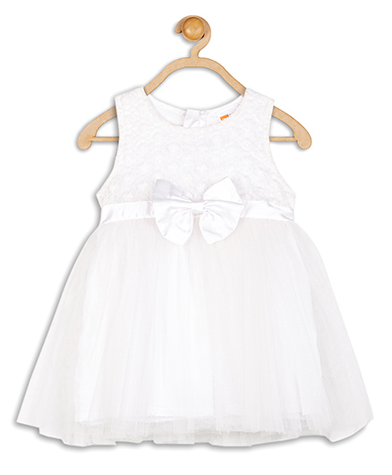 Baby League Sleeveless Party Dress Bow Applique - White