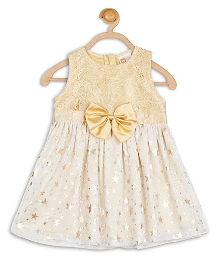 Baby League Sleeveless Glitter Party Dress Bow Applique - Golden