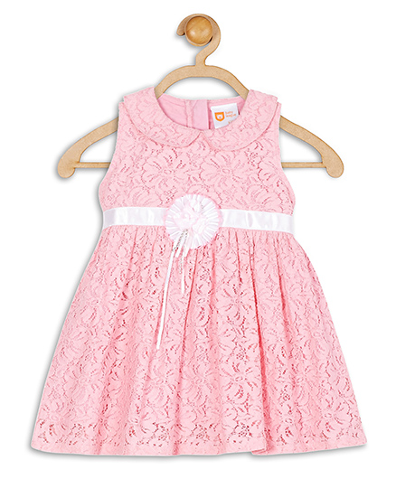 Baby League Sleeveless Lace Party Dress Floral Applique - Pink