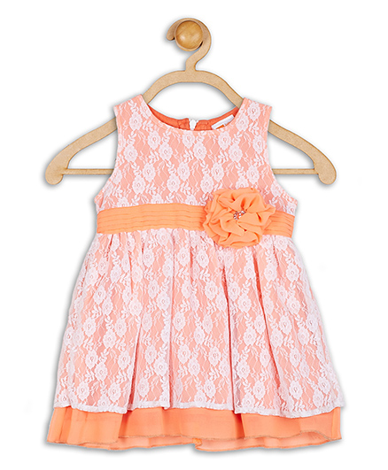 Baby League Sleeveless Party Dress Floral Applique - Orange And White