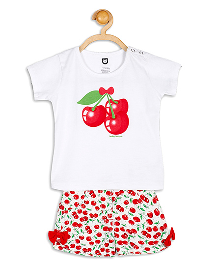 Baby League Half Sleeves Cherry Print Top And Shorts Set - White And Red