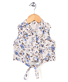Miss Pretty Floral Print Top - White & Multicolour