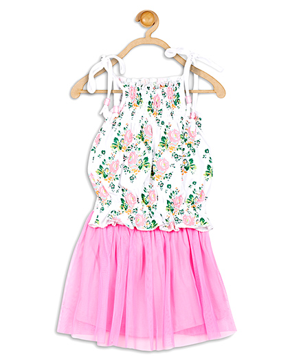 Baby League Singlet Top And Skirt  Floral Print - White And Pink