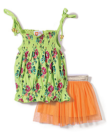 Baby League Singlet Top And Skirt  Floral Print - Green And Orange