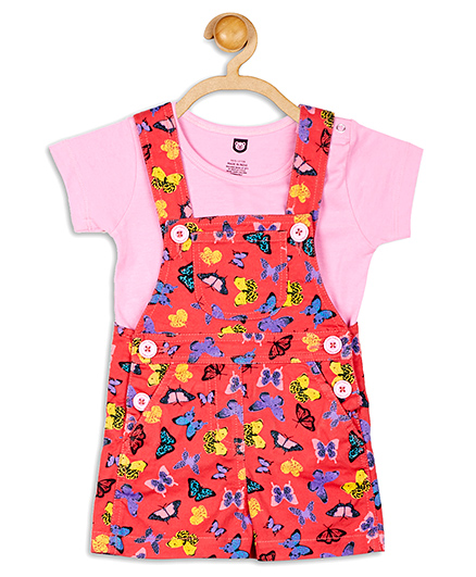 Baby League Printed Dungaree With T-Shirt - Pink