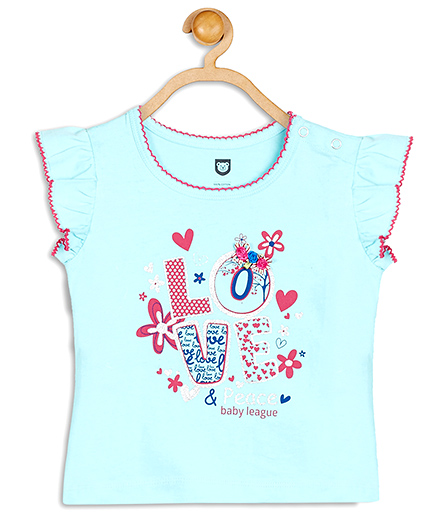 Baby League Flutter Sleeves Printed Top - Blue