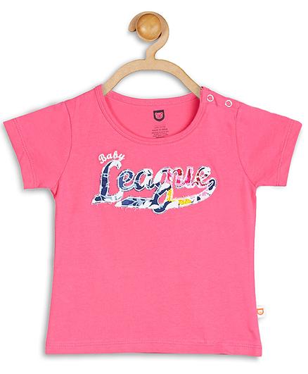 Baby League Short Sleeves Brand Print Top - Pink
