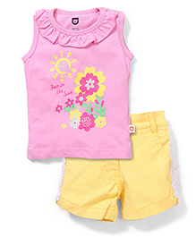 Baby League Sleeveless Printed Top And Shorts Set - Pink And Yellow