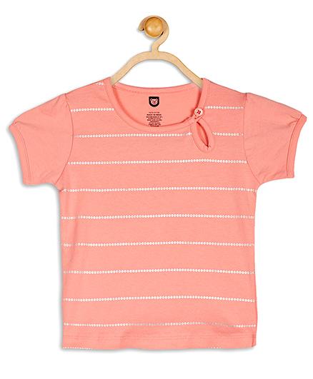 Baby League Short Sleeves Stripes Top - Peach