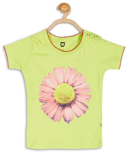 Baby League Floral Print Cotton Top - Green