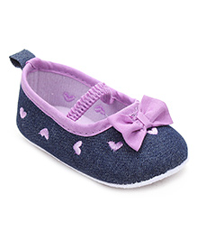 Cute Walk by Babyhug Booties Bow Applique - Blue Purple