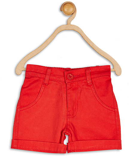 Baby League Plain Solid Color Twill Shorts - Red