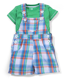 Baby League Half Sleeves Check Dungaree With Inner Tee - Multicolor