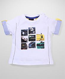 Poly Kids Vehicle Print T-Shirt - White