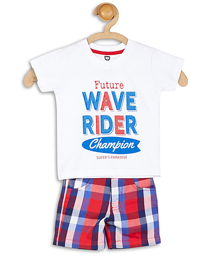 Baby League Half Sleeves Printed T-Shirt With Check Shorts - Blue Red And White