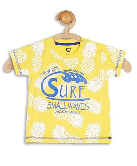 Baby League Half Sleeves T-Shirt Pineapple Print - Yellow