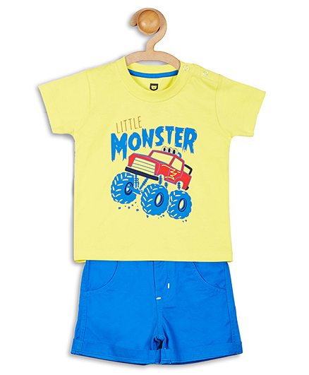 Baby League Half Sleeves Printed T-Shirt With Shorts - Yellow And Blue