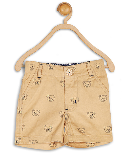 Baby League Shorts Bear Print - Beige