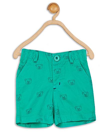 Baby League Shorts Bear Print - Green