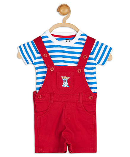 Baby League Dungaree With Stripes T-Shirt - Blue And Red