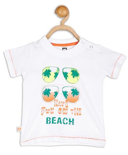 Baby League Half Sleeves Beach Print T-Shirt - White